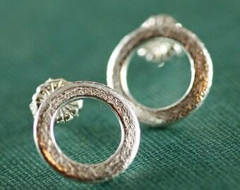 Sterling Silver Brushed Circle Stud Earrings