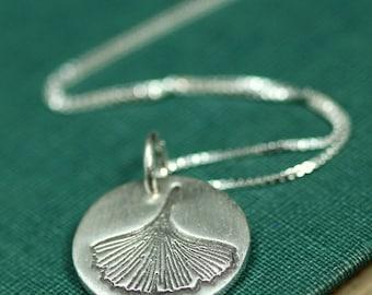 Sterling Silver Ginkgo Leaf Necklace - Ginkgo Immortal