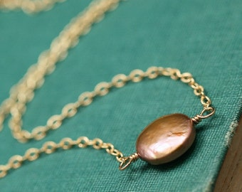 Light Brown Coin Pearl and Gold Filled Necklace