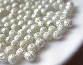 4mm Glass Pearl Matte Round Bead  -  White 200pcs