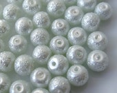 6mm Glass Pearl Matte Bead Round - White 100pcs