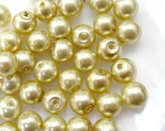 SALE 6mm Glass Pearl Bead Round - Light Gold 200pcs