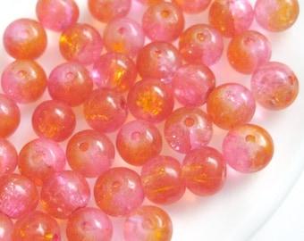 DESTASH SALE -- 500 6mm Crackle Round Glass Bead - Pink Orange A41