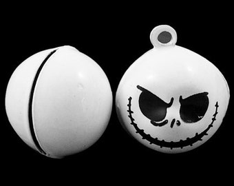 Jack Skellington Skull Head Brass Jingle Bell Pendant Charms 5pcs