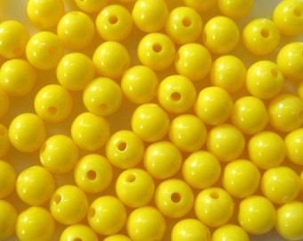 6mm High Gloss Dark Yellow Opaque Acrylic Bead 100pcs