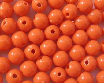 6mm High Gloss Orange Opaque Acrylic Bead 100pcs