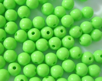 6mm High Gloss Green Opaque Acrylic Bead 100pcs