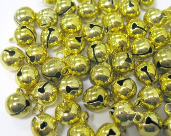 8mm Gold Jingle Bells Charm Drop Bead w/ Tiny Clappers 50pcs