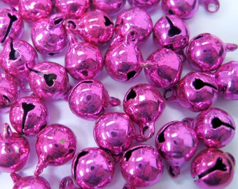 8mm Hot Pink Jingle Bells Charm Drop Bead w/ Tiny Clappers 50pcs