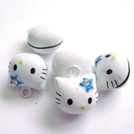 Hello Kitty Head Bell Pendant Charm with Rhinestone, Blue, 5pcs