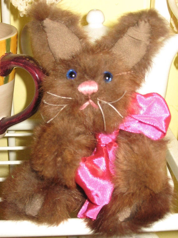 SALE Handcrafted Easter Bunny 8 Inches Tall Recycled Mink