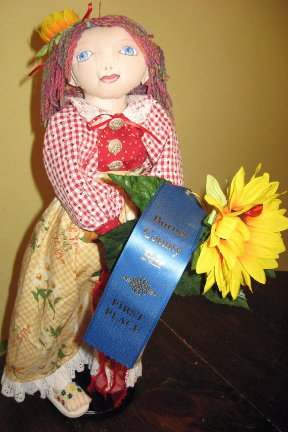 Handcrafted Cloth Doll Sunflower about 20 Inches Tall