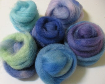 Handdyed Wool Roving Grab Bag - The Blues,  a Paintbox for Felt Makers - Free Domestic Shipping