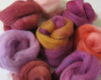 Hand-dyed Roving - Red Menace, a Paintbox for Felt Makers - Free Domestic Shipping