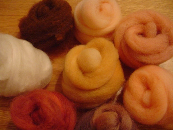 Hand-dyed Wool Roving - Skin Tones Multipack - Free Domestic Shipping