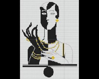 Harlequin Lady Art Deco Tapestry Bead Pattern TWO DROP PEYOTE