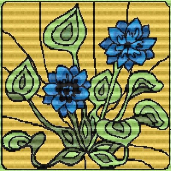 Art Nouveau Flower Patterns Blue Art Nouveau Flower Bead