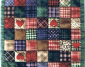 """Miniature Country Patch Dollhouse Mini Quilt 7.5"""" Square Great for OOAK Sculpt Doll Free US Shipping"""