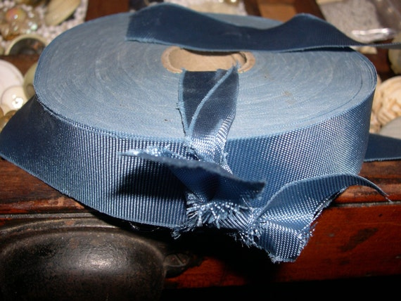 roll of vintage scrappy blue ribbon
