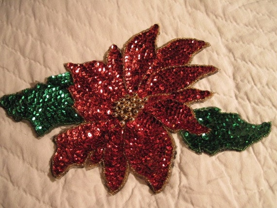 red poinsetta flower sequined motifs/appliques
