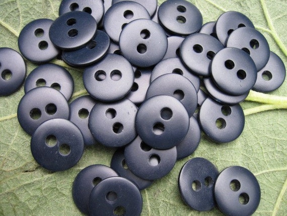 vintage new old stock dark navy blue buttons set of 50