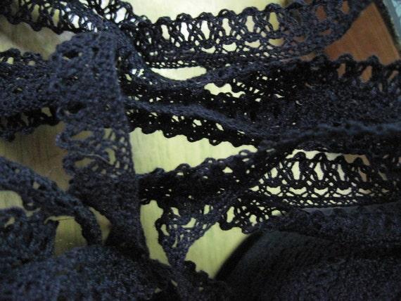 vintage cotton dark blue lace trim 15 yards