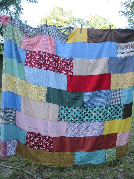 aunt leona's quilt top bold patchwork from the past