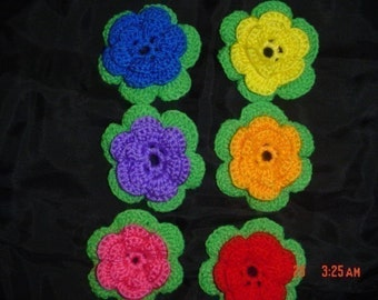 Six Large Crocheted Flowers