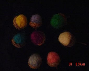 Summer Colors Needle Felted Acorns