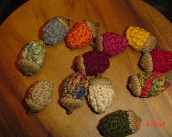 12 Crocheted Acorns