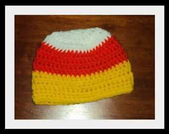 Boutique Fall Candy Corn Crochet Hat 6-12m, 18-24 m, 2t-3t, 4-6-8, Teen, Adult