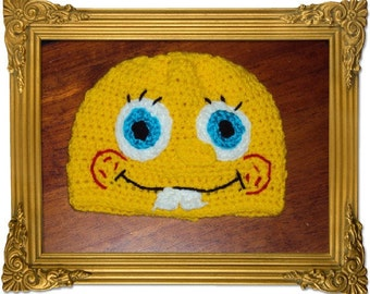 Boutique Crochet Spongebob Beanie Hat Custom 6-12m, 18-24m, 2t-3t, 4-6-8, Teen, Adult
