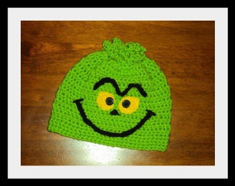 Boutique Crochet Mean and Green You're a Mean One that Stole Christmas Beanie Hat 6-12m, 18-24 m, 2t-3t, 4-6-8, Teen, Adult