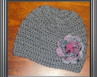 Boutique Custom Crochet Punk Rose Beanie Hat 6-12m, 18-24 m, 2t-3t, 4-6-8, Teen, Adult