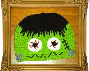 Boutique Crochet LIL Frankie Frankenstein MoNsTeR Hat  6-12m, 18-24 m, 2t-3t, 4-6-8, Teen, Adult