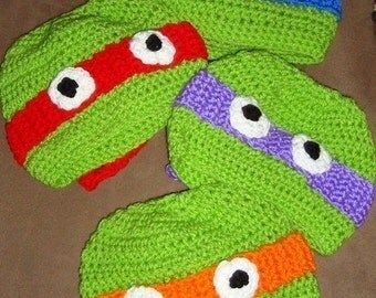 All 4 Hats Included Crochet  Ninja Turtle Hats 6-12m, 18-24m, 2t-3t, 4-6-8, Teen and Adult