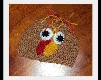 Boutique Crochet MAMA's LIL Turkey Hat 6-12m, 18-24 m, 2t-3t, 4-6-8, Teen, Adult