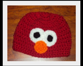 Red Monster Elmo Style Crochet Hat  6-12m, 18-24 m, 2t-3t, 4-6-8, Infant. Toddler, Child, Teen, Adult, Birthday, Holiday