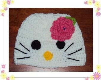 Boutique Crochet Hello Sweet Kitty Beanie Hat  Custom 6-12m, 18-24m, 2t-3t, 4-6-8, Teen, Adult