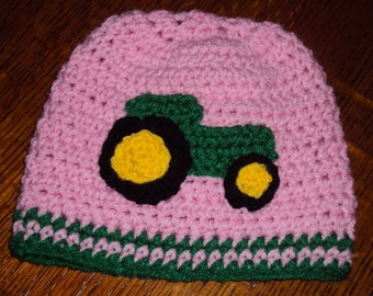 Boutique Crochet PINK TRACTOR Hat Custom 6-12m, 18-24 m, 2t-3t, 4-6-8, Teen, Adult