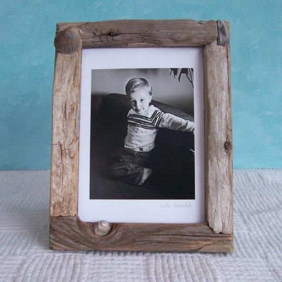 driftwood picture frame 5 x 7 nestled shell. Black Bedroom Furniture Sets. Home Design Ideas