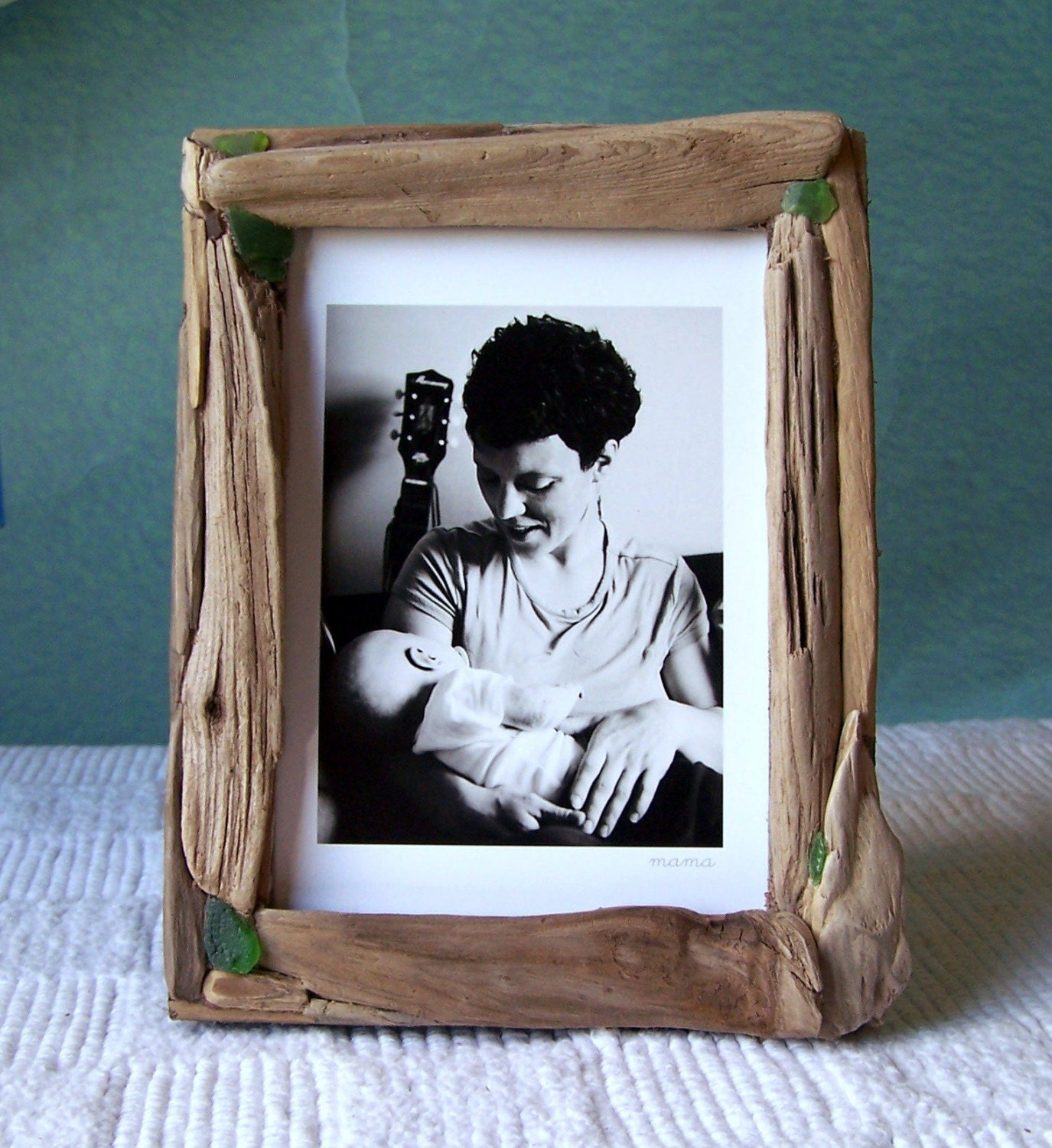 driftwood picture frame 5 x 7 weathered green. Black Bedroom Furniture Sets. Home Design Ideas