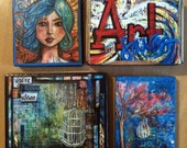 Art Blocks, Mixed media embellished prints on wood, RESERVED LISTING