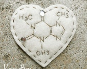 Caffeine Molecule Heart - Felt Fuzzies Hair Clip or Pin