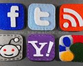 Internet Icons Felt Hair Clip or Pin - Facebook Google Twitter Reddit Yahoo RSS