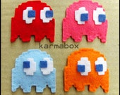 1 Pac-Man Ghost HAIR CLIP - Felt Fuzzies - Red Pink Blue Orange