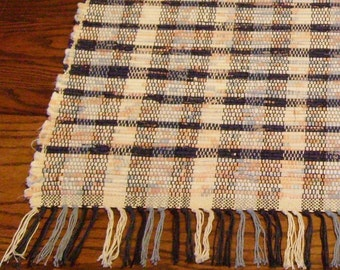 Rag Rug Navy Peach and Country Blue