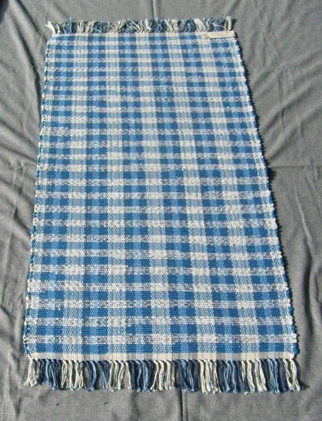 Rag Rug Dark Turquoise Blue And White