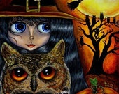 HALLOWEEN BLYTHE OWL WITCH SPOOKY EERIE GOTHIC BIG EYE ART PRINT PICTURE BY BLONDE BLYTHE