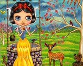 SNOW WHITE PRINCESS WISHING WELL BUTTERFLY DEER WHIMSICAL BIG EYE BLYTHE DOLL FAIRY TALE MINI ART PRINT PICTURE BY BLONDE BLYTHE